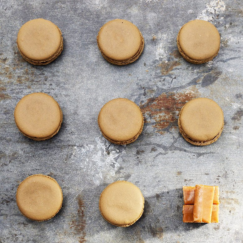 Caramel macaron with sea salt