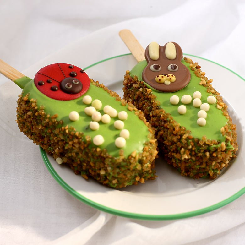 Pistachio cake on a stick